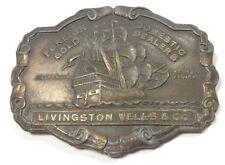 Livingston Wells Co Foreign Gold Domestic Dealers Belt Buckle Vintage 1970s A1-Q