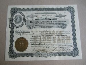 Old Vintage 1904 - BONANZA AMUSEMENT Co. - Stock Certificate - ARIZONA