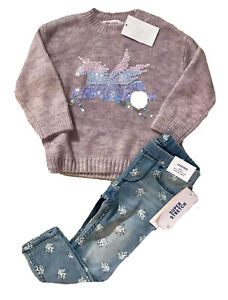 H&M 2 Ans Fille : pull + jean hiver motif licorne neuf