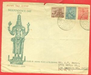 India Archaeology 3 diff stamp on 1949 Independence FDC Cover to USA