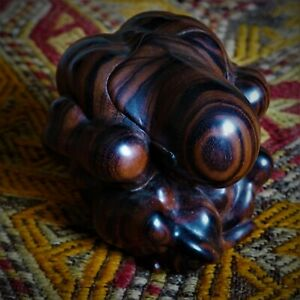 Antique Wood Ebony Sculpture Sad Muscle Man Massage Ball Meditation Yoga Bali
