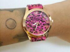 Montre fantaisie originale plastique léopard panthere cheetah rose marron pinup