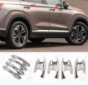 For Hyundai 2019 2020 2021 Santa Fe ABS Chrome outer Door Handle Bowl Cover 8PCS
