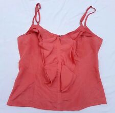 EX CON Dotti Sz 10 Top Singlet Tank Blouse Coral Ruffle Sleeveless Casual Event