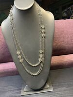 "VINTAGE Monet Silver Tone Textured Flower Link Chain 54"" LONG NECKLACE SIGNED"