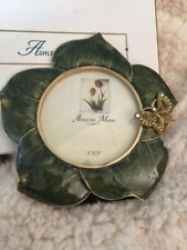 New! Ashleigh Manor Crystal Butterfly Green Flower Enamel Picture Frame 3X3