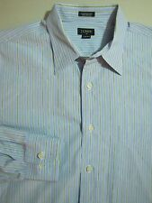 J. CREW Button Front Dress Shirt SIZE LARGE 16 Blue Green Stripes 80's 2 ply