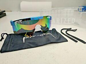 Pit Viper Polarized Sunglasses multi color lens speckled blue w pouch ear grips