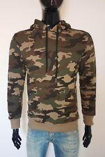 felpa uomo mimetica militare con cappuccio camouflage tasche S M L XL made italy