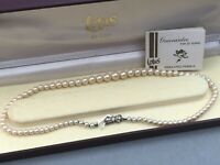 Lotus De Luxe Pearl Necklace Single Strand Boxed Guarantee Simulated Silver 80s