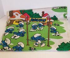 Vintage Smurfs Twin Flat Bed Sheet Kids Bedding Lawtex Poly Cotton