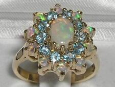 Fabulous Solid 9ct Gold Natural Opal & Blue Topaz 3 Tier Large Cluster Ring