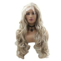 Fashion Synthetic Lace Front Wig Blonde Long Wavy Heat Resistant Hair Full Wigs