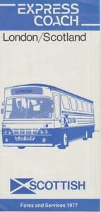 SCOTTISH BUS TIMETABLE LFT LONDON-SCOTLAND 1977