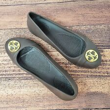 Crocs Gianna Disc Ballet Flats Womens Size 7 Brown Gold Embellishment Slip-On