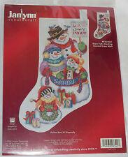 Snowman Family Stocking Kit Snow Folks Counted Cross Stitch Love Joy Peace New
