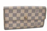 Auth Louis Vuitton Damier Azur Portefeuille Sarah Long Wallet N61735 LV B3717