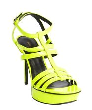SAINT LAURENT PARIS VITELLO VERNICE NEON YELLOW STRAPPY SANDALS Sz. US10.5/40.5E