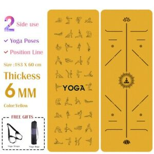 6 MM Double Sided Yoga Mat with Position Line 183*60cm Gym Mat Pad Sports Indoor