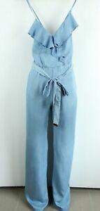 GUESS BNWT 119 Sky Blue Denim Sleeveless Wide Leg Women Jumpsuit Size 24 L34