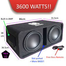 "OE-212BX  Twin 12"" Amplified Subwoofer active box 3600 watts extreme power BASS"