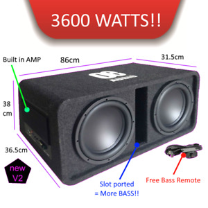 """OE-212BX  Twin 12"""" Amplified Subwoofer active box 3600 watts extreme power BASS"""