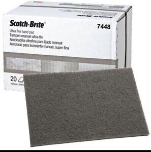 3M 7448 Scotch Brite Ultra Fine Hand Sand Scuffing Grey 20 pads