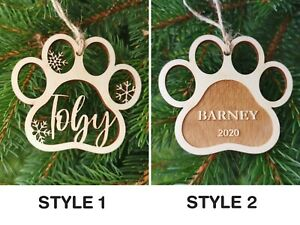 Personalised Paw Decoration For Pet Lovers, Pendant Baubles CHRISTMAS Gift, A2