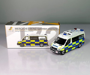 Tiny 1/76 Scale Mercedes Benz Sprinter Police Traffic Department Alloy Car Model