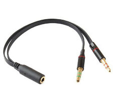 3.5mm 1Female to 2 Male Y Splitter Cable for L/R Audio Microphone MIC PC Headset