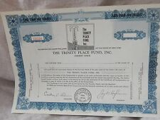 Vintage Unused Stock Certificate Trinity Place 1954 1950s 100 Shares
