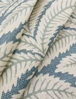 Brunschwig & Fils Leaf Print Fabric- Talavera Linen / Aqua 3.90 yd 8014104.513
