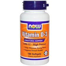 La vitamina D-3, de alta potencia, 1000 UI, 180 Cápsulas-Now Foods