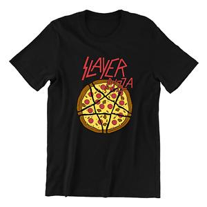 Pizza Slayer Shirt Black Metal Music Rock Festival T-shirt Tee Trendy Top