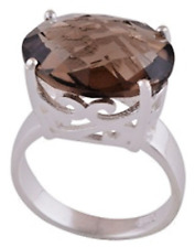 925 Sterling Silver Smoky Topaz Fancy Cut Solitaire Ring Size 9