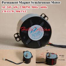 New AC 24V 50Hz-60Hz 2.5RPM CW CCW 6W Permanent Magnet Synchronous Motor 50KTYZ