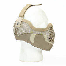 Airsoft Half Face Mark Metal Mesh with Ear Protection Camo Tan Paintball BBTac