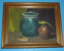 "Art Picture Wall Hanging of Vases with Bird in Wood Frame hand painted 11""x14"""