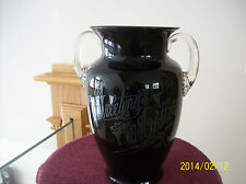 """Black Amethyst Crystal Etched Antique 1936 Vase Stunning """"GREETING'S TO MOTHER"""""""