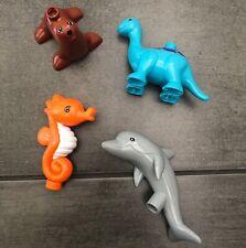 4Pcs/Lot New Big Compatible Duplo Sea Animals Accessories Lion Hippocampi Dolphi
