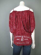 Christian Audigier MD Red SAMPLE Rhinestones Crystals Batwing Slv Boho Shirt Top