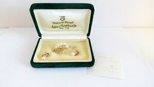 Vintage 1950/60's Mikimoto 14ct Yellow Gold Atoya Pearl Brooch Earrings - Boxed