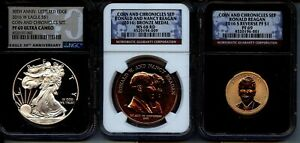 2016  3 PC COIN & CHRONICLES SETS - NGC  - PROOF 69, 69 & MS68