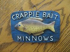 crappie bait minnows with fish, wall hanging plaque fishing advertising sign