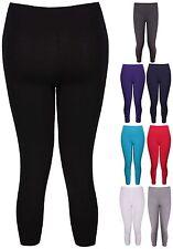 Womens Plain 3/4 Length Ladies Stretch Cropped Pants Trousers Leggings Plus Size
