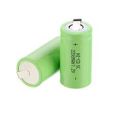 2pcs x Sub C SC 1.2V 2200mAh Ni-Cd NiCd/NiMh Batterie Ricaricabili ,Verde