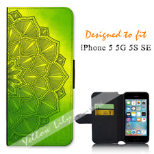 For Apple iPhone 5 5G 5S SE Wallet Flip Phone Case Cover Green Mandala Y01289