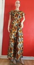 Tie and Dye|Maxi Dress| All Occasions Dress|100%Cotton|orange-B|Round Neck|10|
