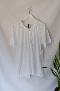 HUDSON Men's White Popper Button T-shirt 100% Cotton Tee Jersey Size M Med