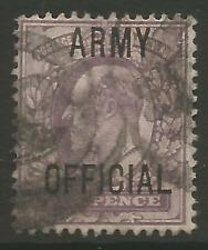 """STAMPS-GREAT BRITAIN. 1902. 6d Purple. Ovpt """"ARMY OFFICIAL"""" SG: O50. Good Used"""